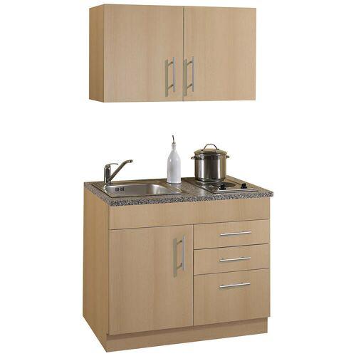 Küchenzeile für Singles 100 TERAMO-03 Buche Dekor B x H x T ca. 100 x 200 x 60cm