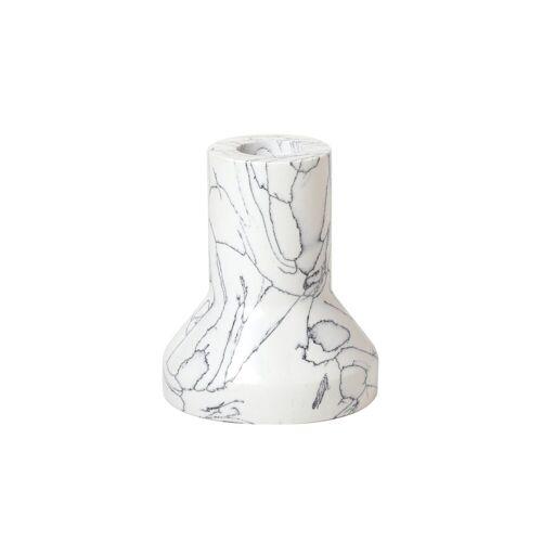 Broste Copenhagen Anna Kerzenhalter Marmor hoch Weiß-schwarz
