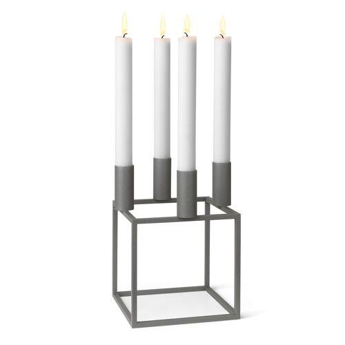 By Lassen Kubus 4 Kerzenhalter Grau
