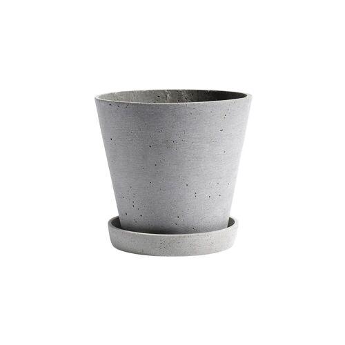 HAY Flowerpot with saucer Blumentopf XL grau