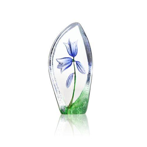 Målerås Glasbruk Glockenblume Glasskulptur blau