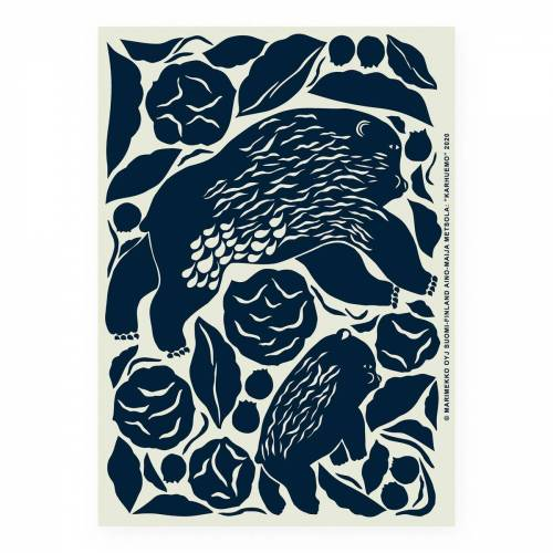 Marimekko Karhuemo Poster 50 x 70cm Mint-dark blue