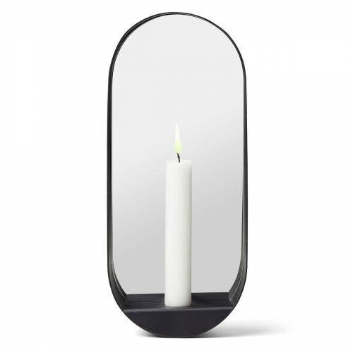 Gejst Glim Spiegel/Kerzenhalter oval 12 x 28cm Schwarz