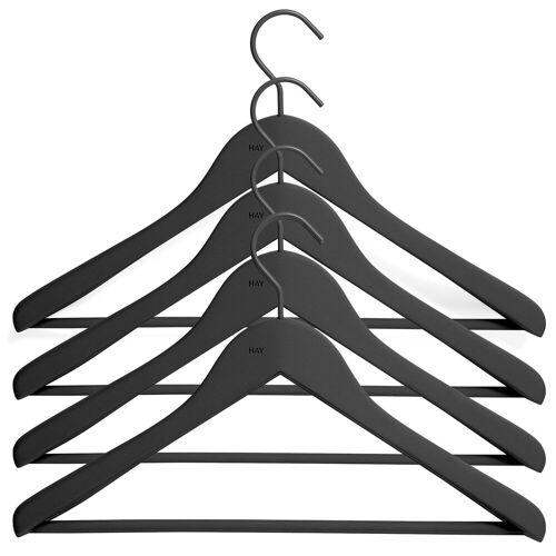 HAY Kleiderhaken mit Stange wide 4er Pack Schwarz