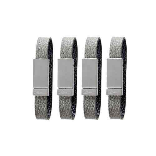 Bitz Serviettenringe 4er Pack grau-schwarz