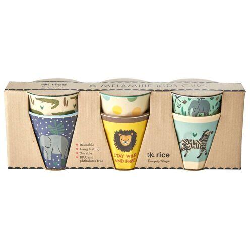 Rice Kinderbecher Jungle animals 6er Pack blau-multi