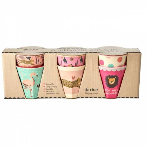 Rice Kinderbecher Jungle animals 6er Pack Rosa-multi