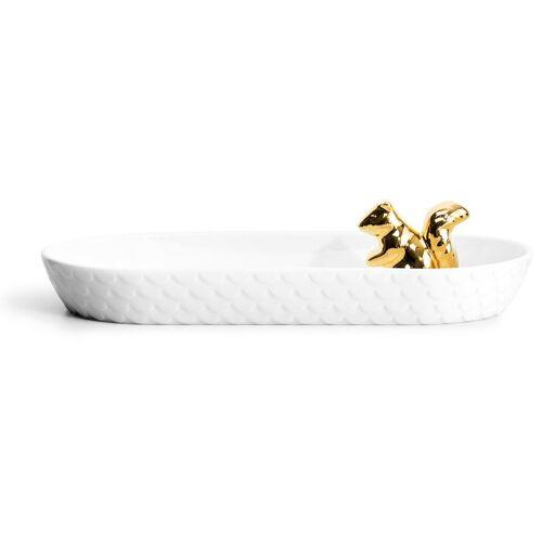 Sagaform Eichhörnchen Servierschale oval gold-weiß
