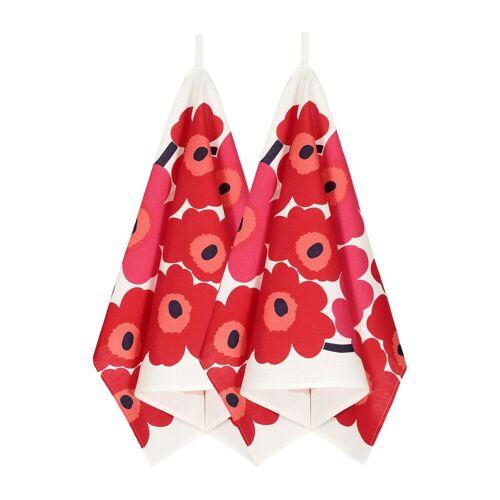 Marimekko Unikko Geschirrtuch 2er Pack weiß rot