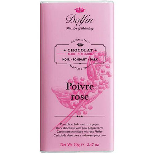 Dolfin Schokolade 60% mit rosa Pfeffer, 70 g