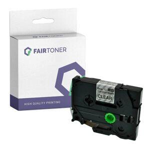 FairToner Kompatibel zu Brother P-Touch 7600 VP (TZE-S111) Schriftband 6mm/8m Schwarz auf Transparent