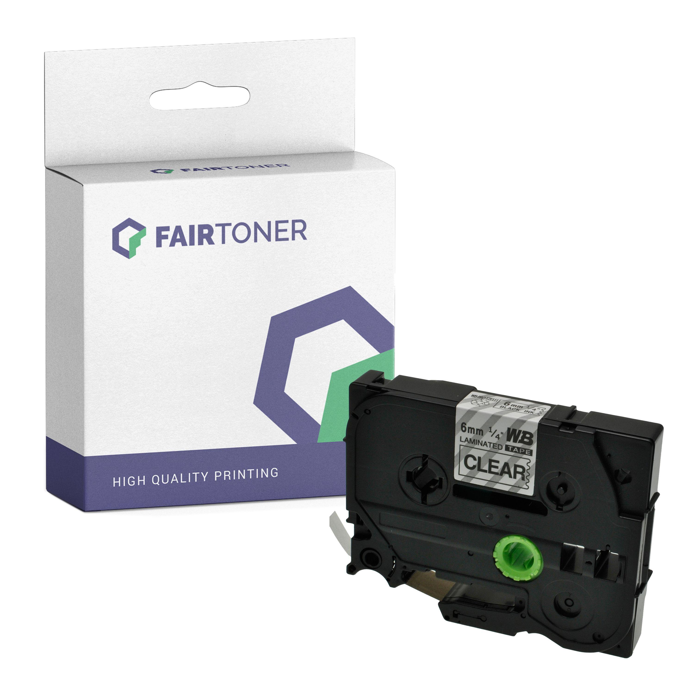FairToner Kompatibel zu Brother P-Touch 1850 Series (TZE-111) Schriftband 6mm/8m Schwarz auf Transparent