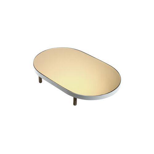 Serax Reflect Tablett / Spiegel oval - 67 x 41 cm - Serax - Weiß,Holz natur,Spiegel, verkupfert