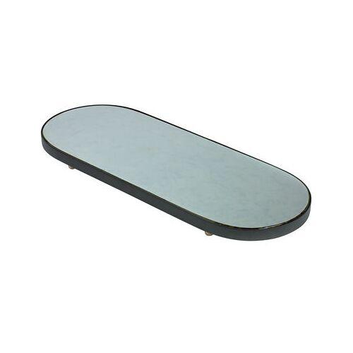 Serax Reflect XL Tablett / Spiegel oval - 80 x 31 cm - Serax - Schwarz,Holz natur,Spiegel