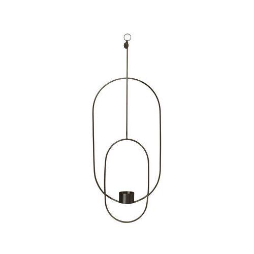 Ferm Living Oval Kerzenhalter zum Aufhängen / L 18 cm x H 50 cm - Ferm Living - Schwarz