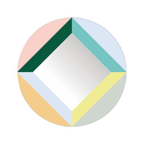 Domestic Round Square Selbstklebende Spiegel / selbstklebend - Ø 48 cm - Domestic - Bunt