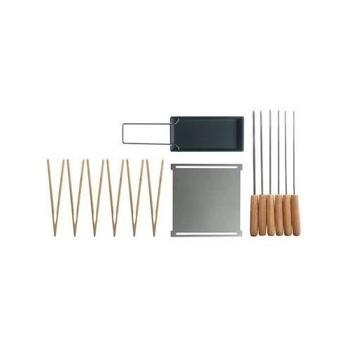 Cookut Accessoires-Set / Für Yaki-Grill Plancha, Raclette-Pfanne, Spieße, Zangen - Cookut - Schwarz,Stahl,Bambus
