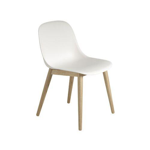 Muuto Fiber Stuhl / 4 Stuhlbeine aus Holz - Muuto - Weiß,Holz natur