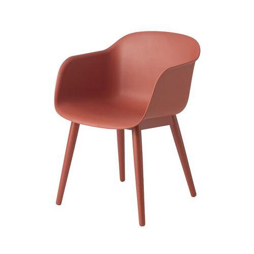 Muuto Fiber Sessel / 4 Stuhlbeine aus Holz - Muuto - Rot