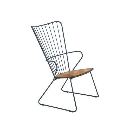 Houe Paon Lounge Sessel / Metall & Bambus - Houe - Blau,Bambus Natur