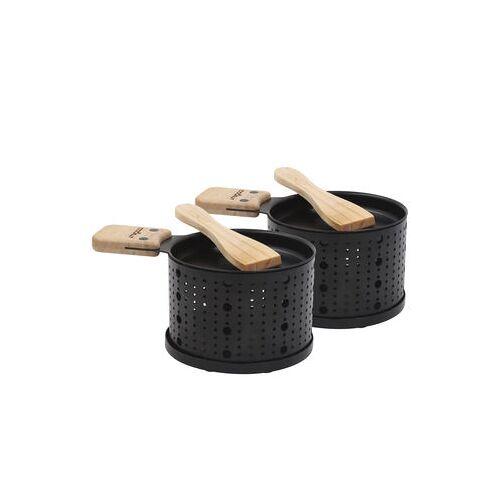 Cookut Lumi Set / für Raclette - für 2 Personen - Cookut - Schwarz,Holz natur