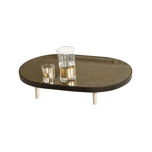 Serax Reflect Tablett / ovaler Spiegel - L 41 cm x H 67 cm - Serax - Schwarz,Holz natur,Spiegelfarben