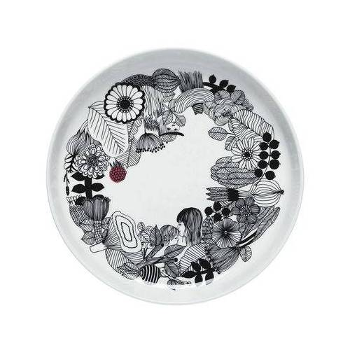 Marimekko Siirtolapuutarha Servierplatte / Ø 32 cm - Marimekko - Weiß,Rot,Schwarz