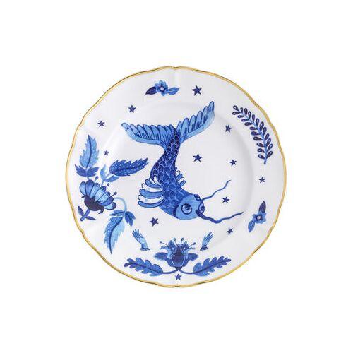 Bitossi Home Fish Teller / Ø 20,5 cm - Bitossi Home - Weiß,Blau,Gold