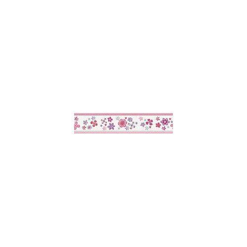 Esprit Kids Vliestapete Bordüre Blumen, Weiß-Rosa-Lila, Kinder-Tapete, 941273