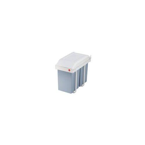 Hailo Multi-Box DUO L, 2x14 L, Einbau-Mülltrennsystem, Grau-Weiß, Einbaumülleimer Küche