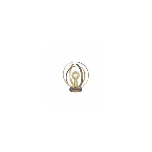 WOFI Leuchten Wofi LED Tischleuchte CORDOBA, Ø 30 cm, max 60 W, E27, Gold, Braun, IP20, Tischlampe mit Schalter
