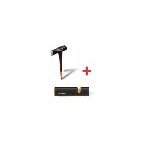 Fiskars SET: Spalthammer X46 +Xsharp Axt- & Messerschärfer 2in1 Axt + Hammer