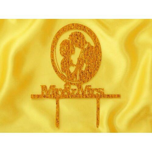 Pati-Versand Cake Topper Mr. & Mrs. gold