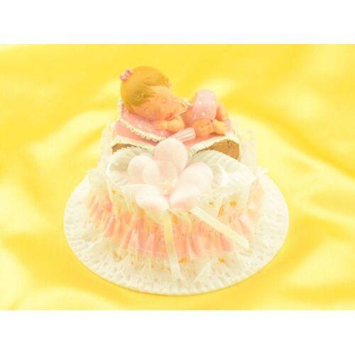 Pati-Versand Tortenaufsatz Baby im Korb, rosa