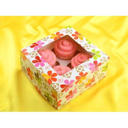 Pati-Versand Cupcake Box Blumen für 4 Stück 2er Set