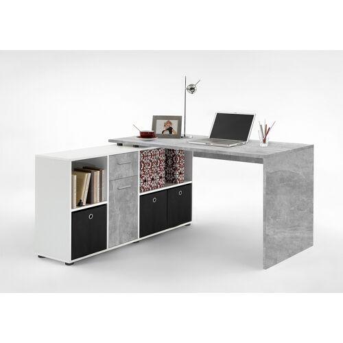 Lifestyle4Living Schreibtisch in weiß mit Abs. in Betonoptik, Schreibtischplatte Maße: (Tisch) B/H/T ca. 136/75/68 cm, Maße: (Regal)B/H/T ca. 137/71/33 cm