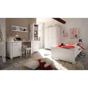 Lifestyle4Living 3-tlg. Jugendzimmer in Kiefer massiv / weiß gewachst mit 3-trg. Kleiderschrank (B: 131 cm), Jugendbett (90 x 200 cm) und Schreibtisch (B: 120 cm)
