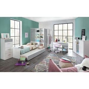Lifestyle4Living Jugendzimmer 5-tlg. in weiß/Betonoptik, Eckschrank B:124 cm, Bett 90x200 cm, Ausziehliege B:90 cm, Schreibtisch B: 140 cm, Rollcontainer B: 46 cm