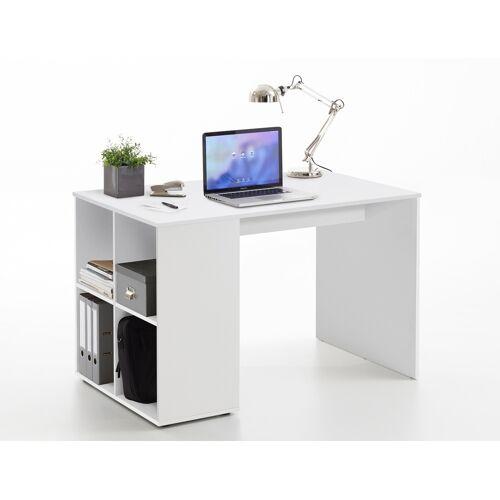 Lifestyle4Living Schreibtisch in weiß mit 4 offenen Ablagefächern, Maße: B/H/T ca. 117/75/73 cm