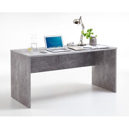 Lifestyle4Living Schreibtisch in Beton-Dekor, Maße: B/H/T ca. 160/75,5/68 cm