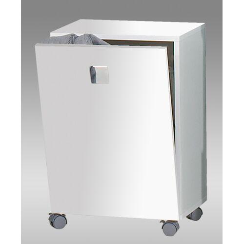 Lifestyle4Living Rolli in weiß, mit 1 Tür und 1 Wäschekorb, Maße: B/H/T ca. 40,3/54,5/32 cm