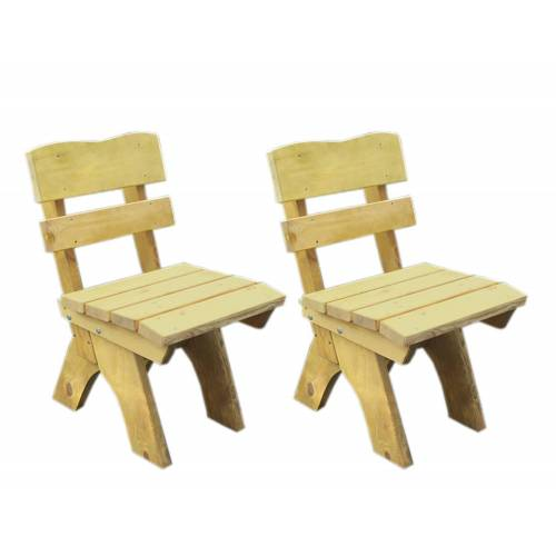 Lifestyle4Living Gartenstühle aus Kiefernholz massiv in hellbraun imprägniert, 2er-Set, Maße: B/H/T ca. je 50/82/60 cm