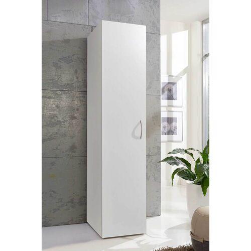 Lifestyle4Living Kleiderschrank in weiß mit 1 Tür und 6 Einlegeböden, Maße: B/H/T ca. 40/185/40 cm