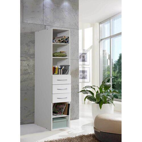 Lifestyle4Living Regal in weiß mit 3 Schubladen und 3 Böden, Maße: B/H/T ca. 45/185/40 cm