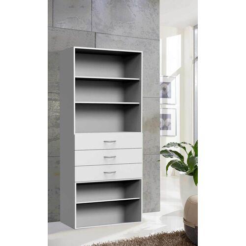 Lifestyle4Living Regal in weiß mit 3 Schubladen und 3 Böden, Maße: B/H/T ca. 80/185/40 cm