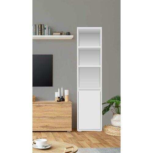 Lifestyle4Living Regal in weiß matt mit 3 offenen Fächern und 1 Tür, Maße: B/H/T ca. 45/191/37 cm