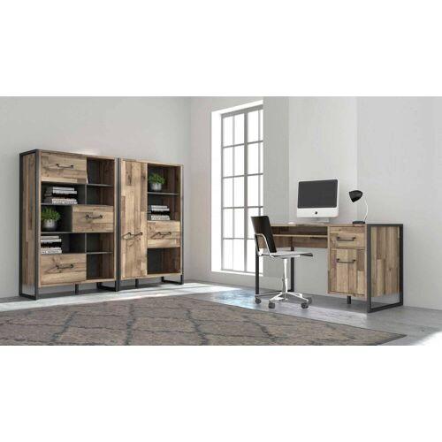 Lifestyle4Living 3-tlg. Büromöbel Set in Stabeiche Nachbildung mit Absetzungen in dunkelgrauer Betonoptik
