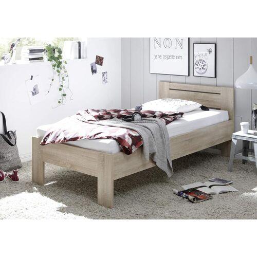 Lifestyle4Living Futonbett in Sonoma Eiche-Dekor, Maße B/H/T ca. 95,76,204 cm