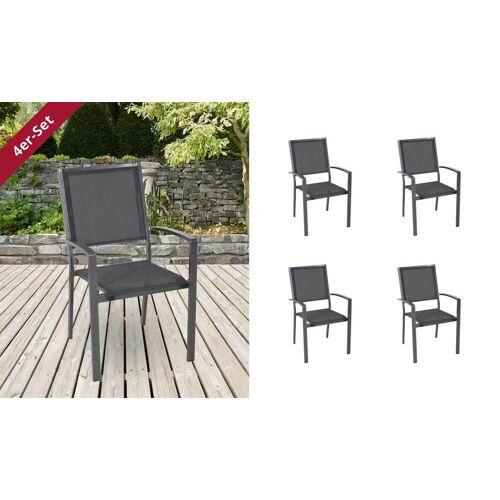 Lifestyle4Living Gartenstühle mit Textylenbezug in anthrazit und einem Gestell aus Aluminium in anthrazit, 4er-Set, Maße: B/H/T ca. 55,5/94/64,5 cm