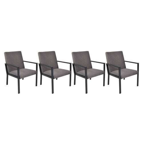 Lifestyle4Living Gartenstühle 4er Set aus Aluminium anthrazit mit Polsterung in grau, Maße: B/H/T ca. 62,5/90/67 cm